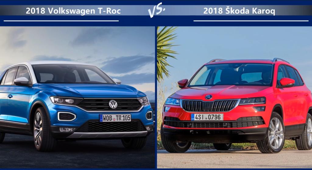 VW T-Roc vs Skoda Karoq Внешние размеры