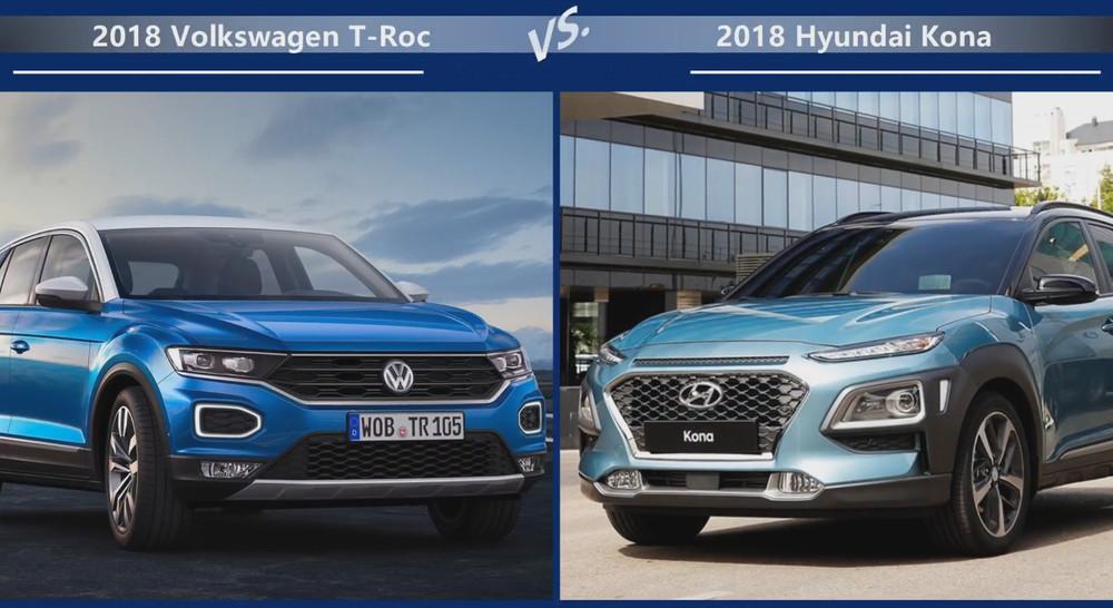 VW T-Roc vs Hyundai Kona Внешние размеры