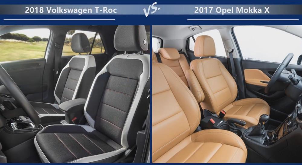 VW T-Roc vs Opel Mokka Размеры салона