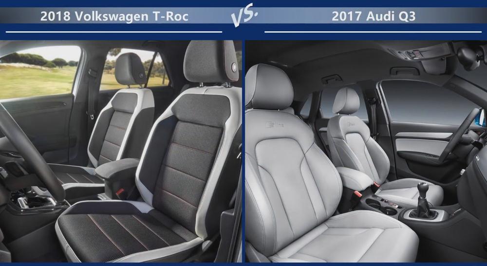 VW T-Roc vs Audi Q3 Внутренние размеры