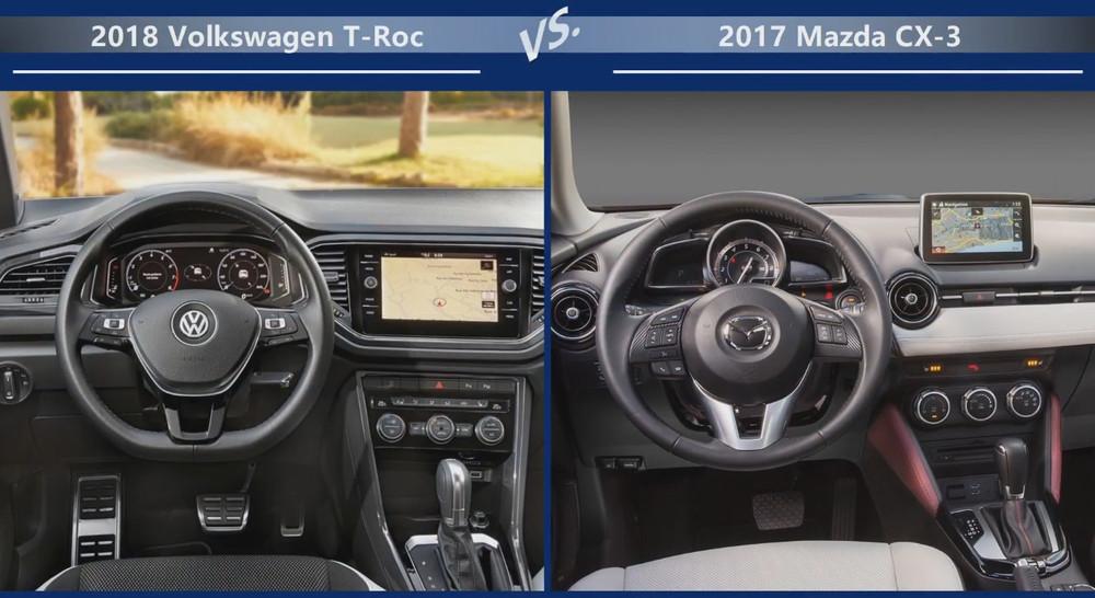 VW T-Roc vs Mazda CX-3 Двигатели