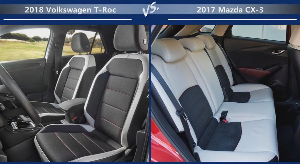 VW T-Roc vs Mazda CX-3 Внутренние размеры