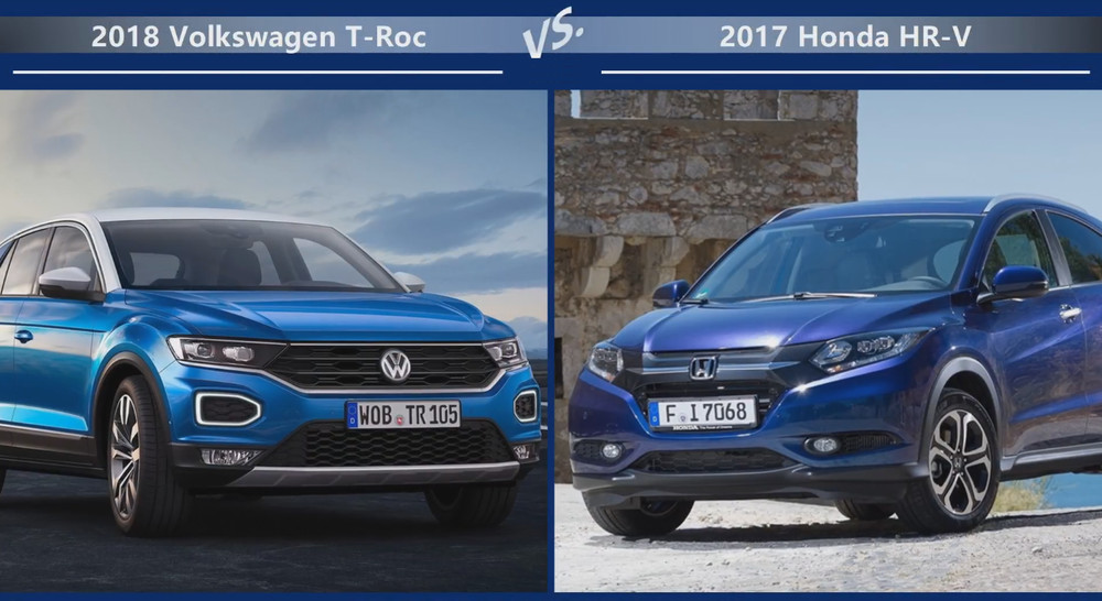 Volkswagen T-Roc vs Honda HR-V Внешние размеры