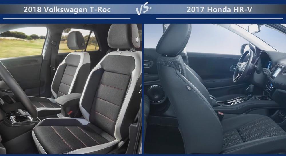 Volkswagen T-Roc vs Honda HR-V Внутренние размеры