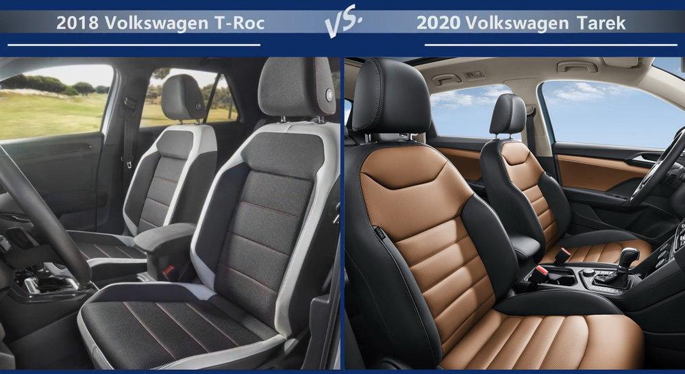 Volkswagen T-Roc vs Volkswagen Tarek Внутренние размеры